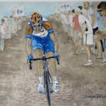 Ryder Hesjedal Races Over Cobbles, Watercolour, 8X10 by Canadian sports portrait artist Tanya Petruk