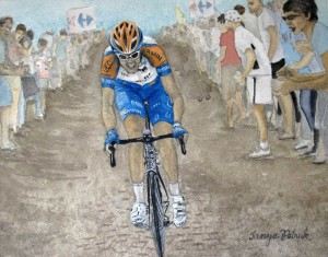 Ryder Hesjedal On Cobbles bicycle art prints